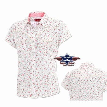 Chemise western femme Jeanette Stars and Stripes Chemises Manches courtes Femme st-Jeanette