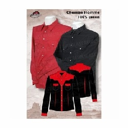 Chemise western homme rouge noire