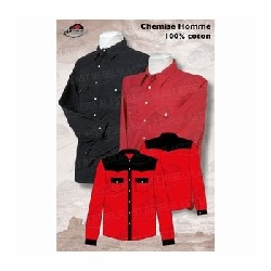Chemise western homme noir rouge
