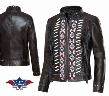 Veste cuir  Acoma Stars and Stripes Vestes, manteaux Coupe femme st-acoma